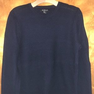 21Men navy blue crew neck cable knit sweater